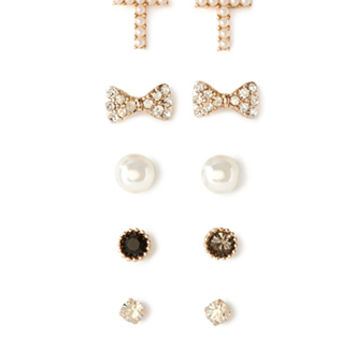 FOREVER 21 Faux Pearl Stud Set Gold/Clear One