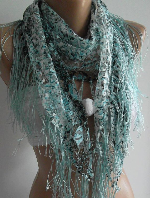 Blue  - Grey / lace and Elegance Shawl / Scarf - with Lace Edge