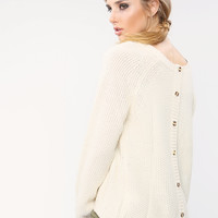 Back Buttons Point Knit Sweater