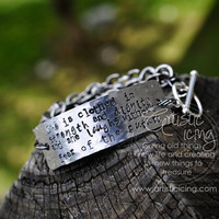 She is clothed in strength and dignity and laughs without fear of the future - Hand Stamped Bracelet