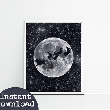 Father Christmas Galaxy Moon And Stars Printable Christmas Art - Santa And Sledge - Instant Download Christmas Art Print - La Luna Christmas