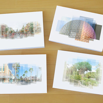 Disney World Icons - Set of 4 Notecards with Envelopes - photo cards, blank notecards, Disney photography, Epcot, Magic Kingdom, Disney gift