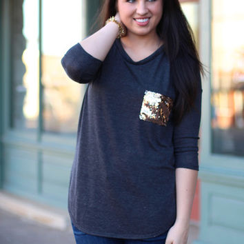 Pocket Full of Sequins Top {Charcoal}