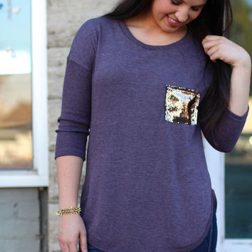 Pocket Full of Sequins Top {Plum}