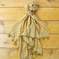 Golden Darling Scarf - $30.00: From ourchiox.com, this lovely golden mustard scarf comes in a polka dot pattern.