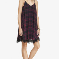 LACE TRIM PLAID V-NECK TRAPEZE DRESS from EXPRESS