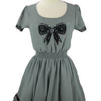 Flocked Bow Dress | doubledutch Boutique