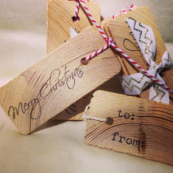 Christmas gift tag- Rustic gift tag- Wooden gift tag