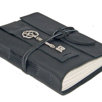 Black Leather Journal with Key Bookmark - Ready to ship