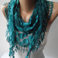 Turqouise Blue and Laced Fabric Scarf  - with the Turqouise Trim Edge - Summer Collection