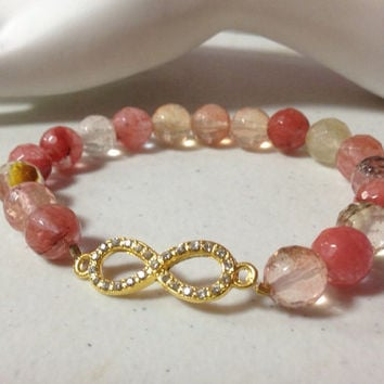 "7"" Faceted Watermelon Tourmaline Gemstone Bead Crystal Infinity Charm Bracelet"