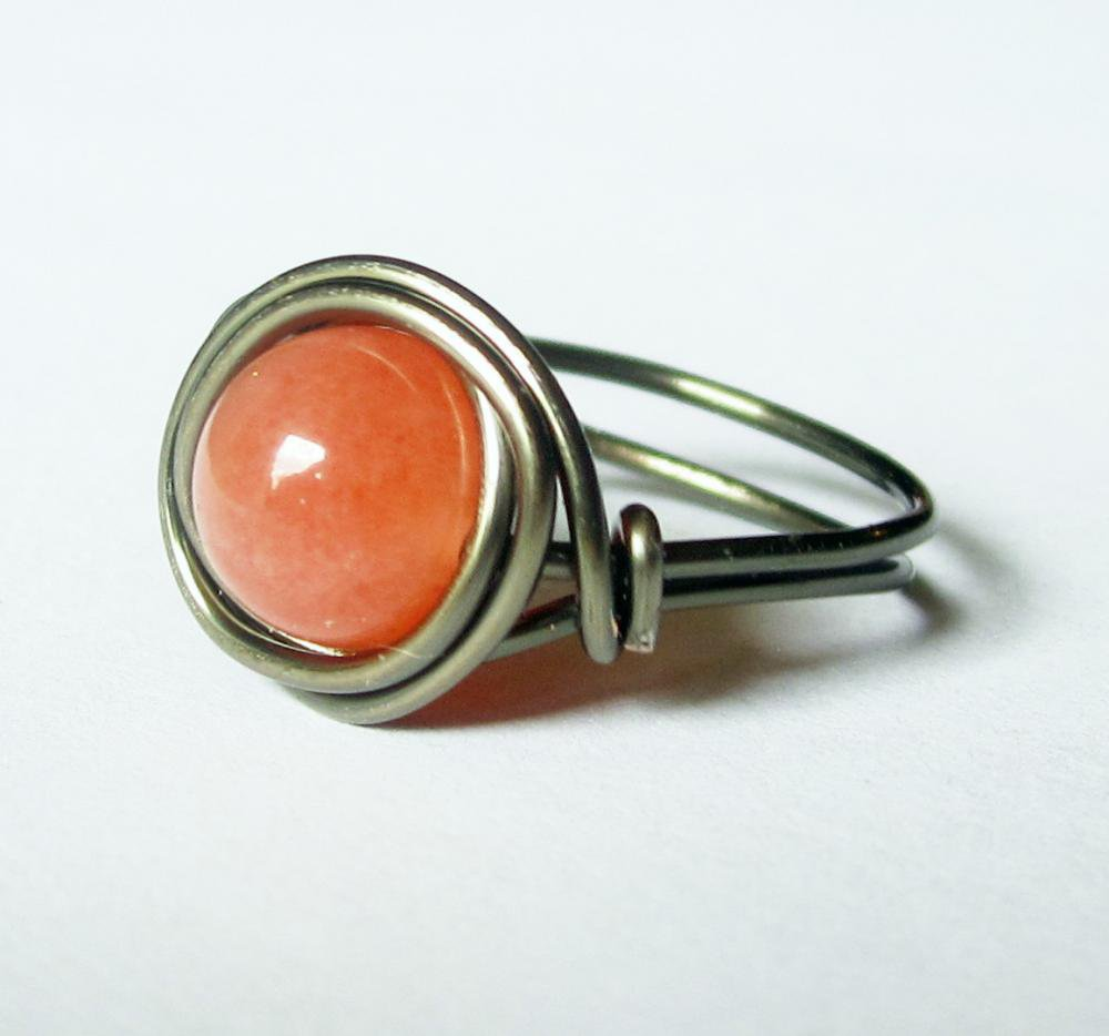 Orange Jade Ring In Gunmetal on Luulla