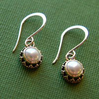 Sterling silver bezel set pearl earrings