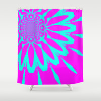 Fushia & Turquoise Modern Flower Shower Curtain by 2sweet4words Designs