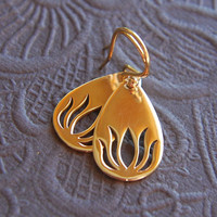 Bronze pear shaped lotus charm earrings