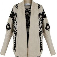 Aztec Knitted Drape Cardigan