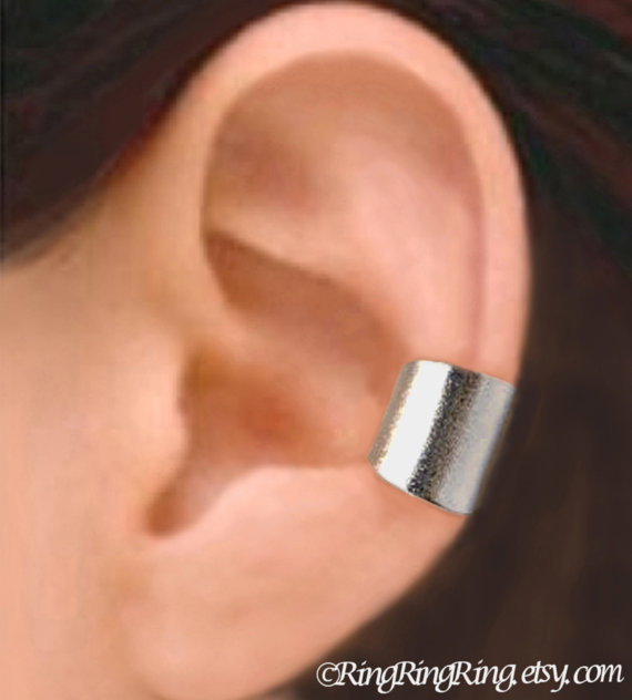 Wide silver ear cuff earring jewelry - 12 mm simple Earcuff for men and women  080812