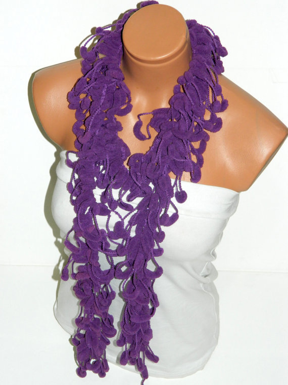Purple Velvet Fashion Scarf for Autumn and Winter....