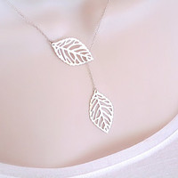 Leaf Necklace - Dainty Silver Necklace - Sterling Silver Chain - Silver Leaves -