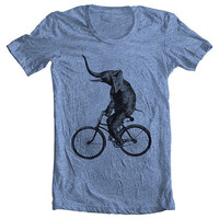 Unisex - Men's Women's T shirt - ELEPHANT RIDING a BIKE Fashion American Apparel - Athletic Blue (9 Colors) Sizes xs, s, m, l, xl (gct)