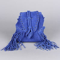 The Fringe Crossbody Bag in Blue
