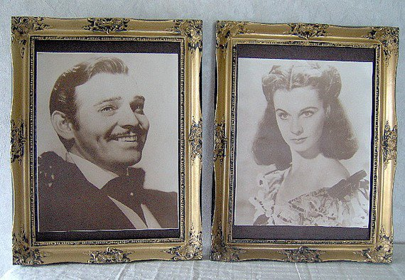 Gone with the Wind - Scarlett Ohara Rhett Butler Framed Portraits - Antique Photograph - Viviene Leigh Clark Gable - Antique Prints
