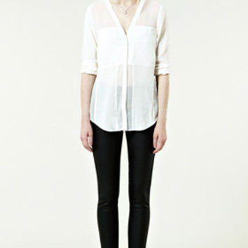 Sale Clothing | Neutral Sheer Panel Shirt  | Warehouse
