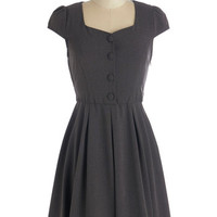 ModCloth Vintage Inspired Mid-length Cap Sleeves A-line Business Jargon Genius Dress