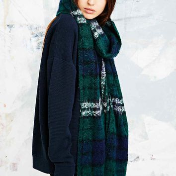 Brushed Plaid Scarf in Green - Urban Outfitters