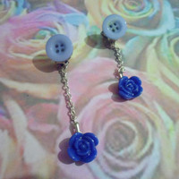 Blue rose and button clip on earrings