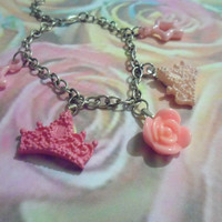 Pink rose and tiara charm bracelet