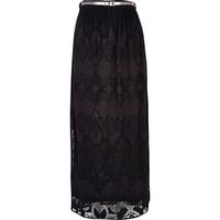River Island Womens Black lace belted maxi skirt