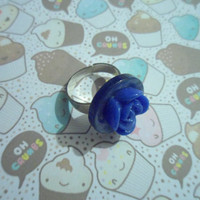 Blue button lily pad style adjustable ring