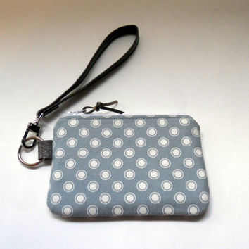 Wristlet Wallet, Gift Card Wallet, Change Purse, Credit Card Holder, Small Wallet, Gift Idea, Gray White Dots, Faux Leather, Ready to Ship