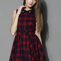 Peter Pan Collar Tartan Skater Dress in Red Red