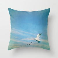 flying into blue II Throw Pillow by Steffi ~ findsFUNDSTUECKE