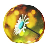 Turquoise Daisy in Amber N Gold Pouf