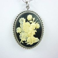 Whimsical Winged Fairy and Thistle Cameo Cream on Black W/ Silver Finish Chain