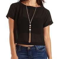 Boat Neck Sheer Chiffon Top by Charlotte Russe - Black