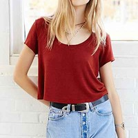 Truly Madly Deeply Scoop-Neck Cropped Tee- Rust