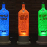 Absolut Citron Color Changing LED Remote Controlled Eco Friendly rgb LED Bottle Lamp/Bar Light / Intense Sparkle-Bodacious Bottles-