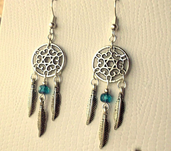 Dreamcatcher Earrings - Teal Blue /Green