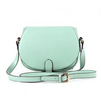 Mini Mint PU Shoulder Bag with Flap Front