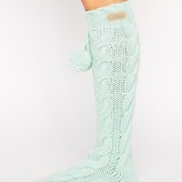 Bedroom Athletics Angelina Mint Cable Knit Slipper Socks