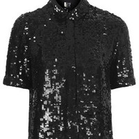 Sequin Shirt - Tops - Clothing
