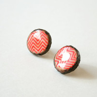 Painted Wooden Branch Slice Post Earrings in Neon Red ZigZags