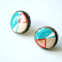 Painted Wooden Branch Slice Post Earrings in Turquoise Geometry