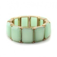 Green Faceted Gemstone Stretch Bracelet