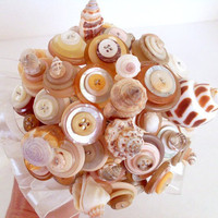Beach Shell Button Bouquet for Destination Wedding