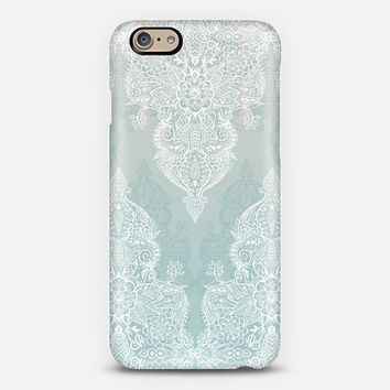 Lace & Shadows - soft sage grey & white Moroccan doodle iPhone 6 case by Micklyn Le Feuvre | Casetify